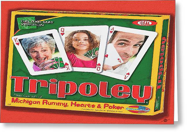 Family Time Greeting Cards - Tripoley Board Game Painting Greeting Card by Tony Rubino
