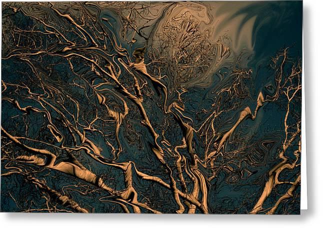 Darkroom Greeting Cards - Trippy Tree Greeting Card by Linda Sannuti