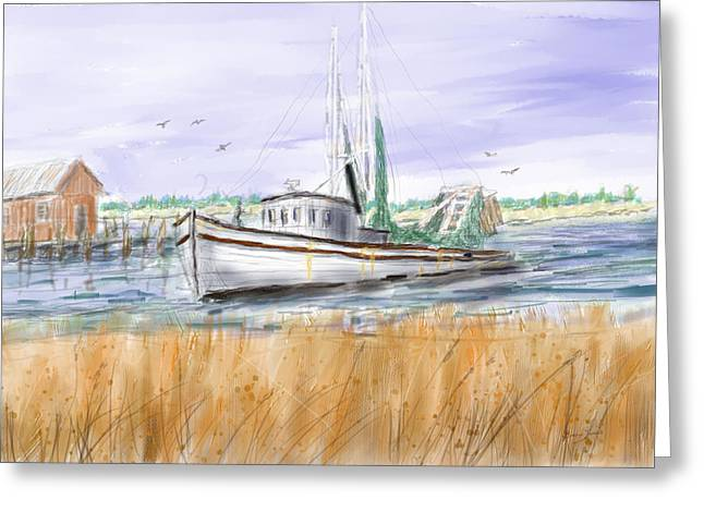 Trips End - Shrimp Boat Art Greeting Card by Barry Jones