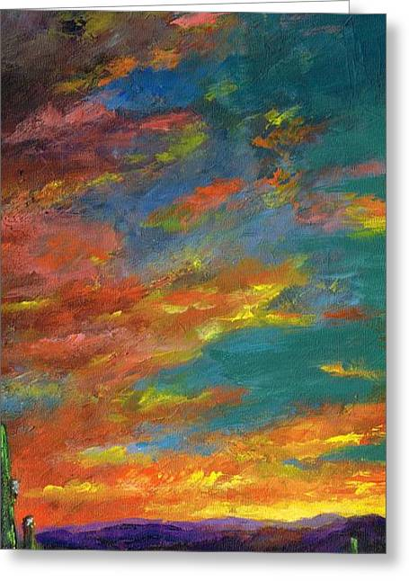 Sunset Abstract Greeting Cards - Triptych 1 Desert Sunset Greeting Card by Frances Marino