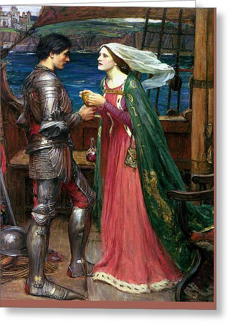 Tristan And Isolde With The Potion Greeting Card by John William Waterhouse