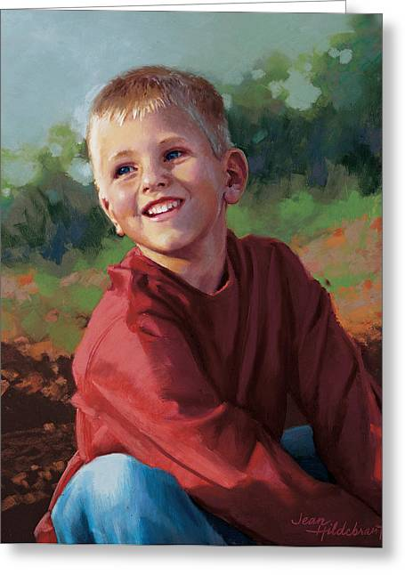 Outdoors Pastels Greeting Cards - Tristan Greeting Card by Jean Hildebrant