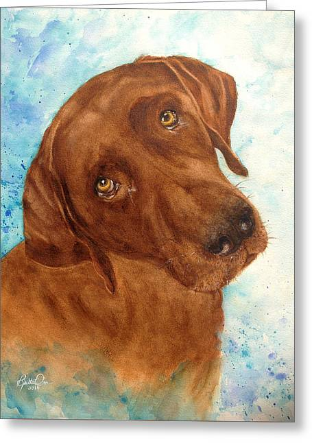 Chocolate Lab Greeting Cards - Triton Greeting Card by Bette Orr