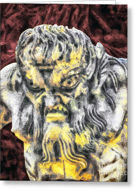 Parable Greeting Cards - Triton Guarding Greeting Card by GabeZ Art