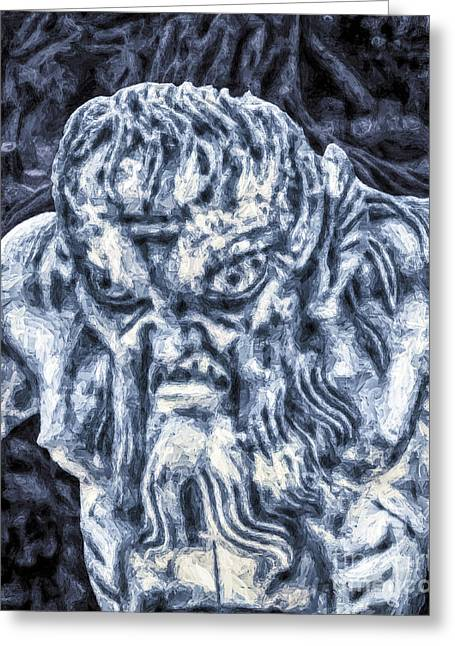 Parable Greeting Cards - Triton In Blue Greeting Card by GabeZ Art