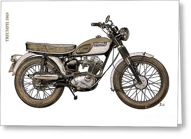 Painted Wood Drawings Greeting Cards - Triumph 1969 Greeting Card by Pablo Franchi