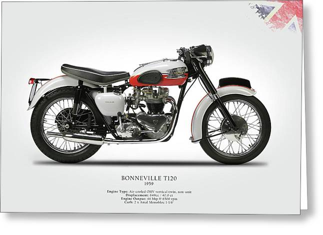 Motorcycle Greeting Cards - Triumph Bonneville 1959 Greeting Card by Mark Rogan