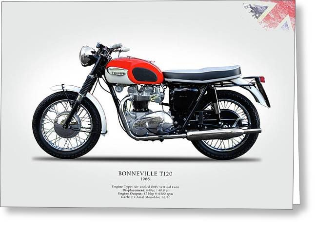 Motorcycle Poster Greeting Cards - Triumph Bonneville 1966 Greeting Card by Mark Rogan