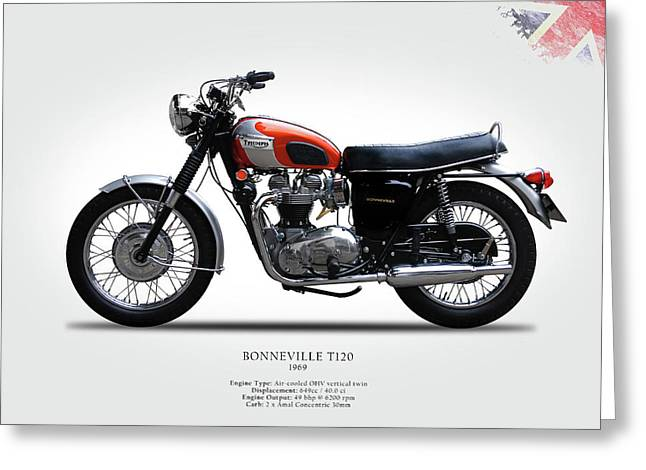 Vintage Posters Greeting Cards - Triumph Bonneville 1969 Greeting Card by Mark Rogan