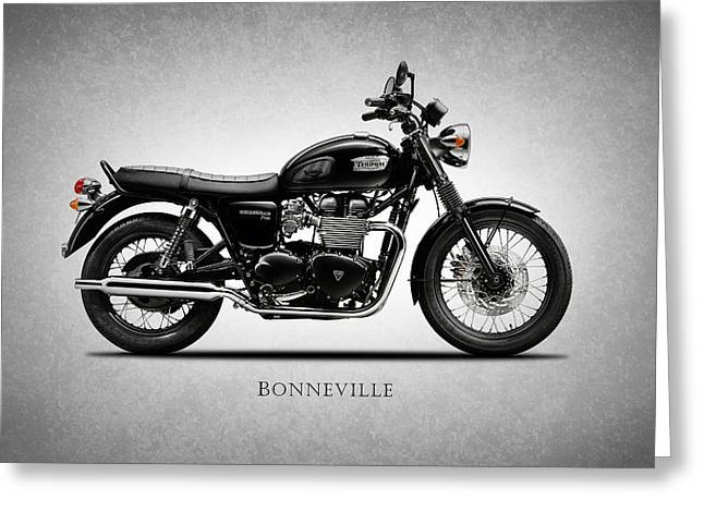 Motorcycle Greeting Cards - Triumph Bonneville Black Greeting Card by Mark Rogan