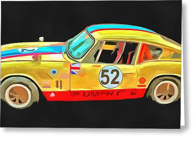 Automobile Artwork. Greeting Cards - Triumph GT6 Plus Pop Art Greeting Card by Edward Fielding