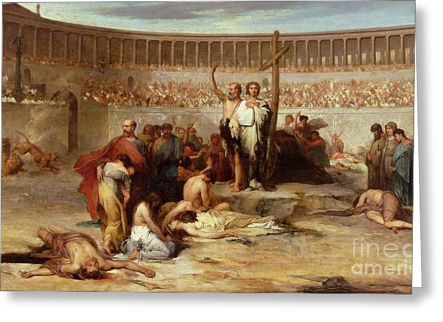 Christian Paintings Greeting Cards - Triumph of Faith    Christian Martyrs in the Time of Nero Greeting Card by Eugene Romain Thirion