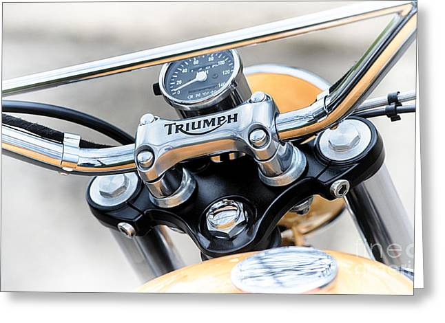 Handlebar Greeting Cards - Triumph Scrambler Abstract Greeting Card by Tim Gainey
