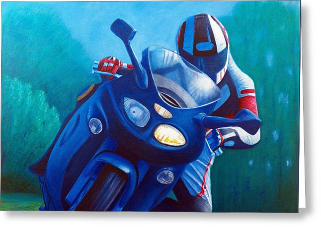 Biking Greeting Cards - Triumph Sprint - Franklin Canyon  Greeting Card by Brian  Commerford