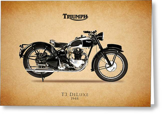 Tiger Poster Greeting Cards - Triumph T3 De Luxe 1948 Greeting Card by Mark Rogan