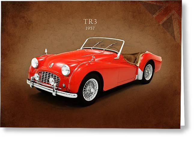 British Car Greeting Cards - Triumph TR3 1957 Greeting Card by Mark Rogan