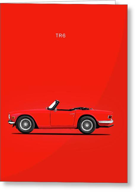 Triumph Tr6 In Red Greeting Card by Mark Rogan