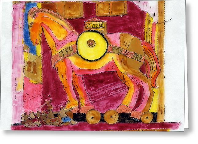 Trojan Horse Greeting Card by Phil Strang