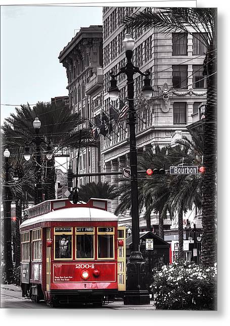 Canal Greeting Cards - Trolley on Bourbon and Canal  Greeting Card by Tammy Wetzel