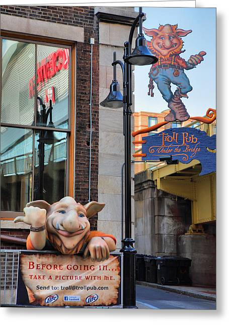 Print On Acrylic Greeting Cards - Trolls On Whiskey Row I Greeting Card by Steven Ainsworth