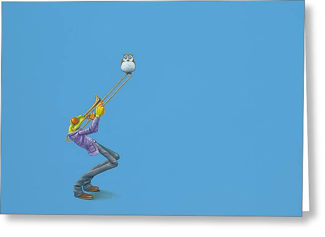 Red Eye Greeting Cards - Trombone Greeting Card by Jasper Oostland