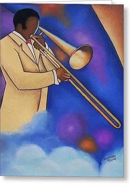 African-american Greeting Cards - Trombone Man Greeting Card by Sonya Walker