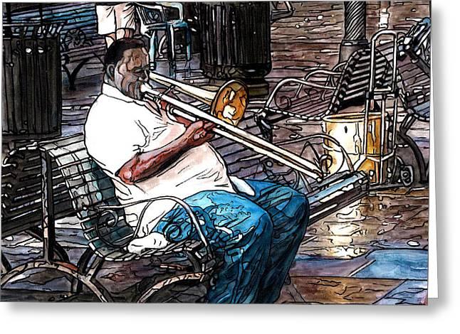 Trombone Player In Jackson Square Greeting Card by John Boles
