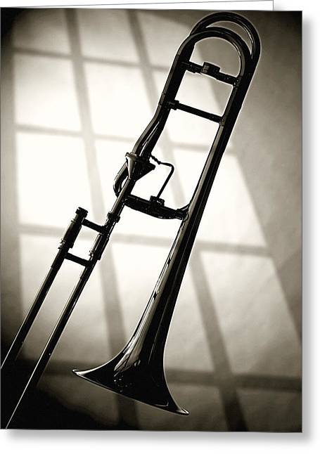 Black And White Print Greeting Cards - Trombone Silhouette and Window Greeting Card by M K  Miller