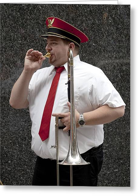 Marching Band Greeting Cards - Trombonist Greeting Card by Robert Ullmann