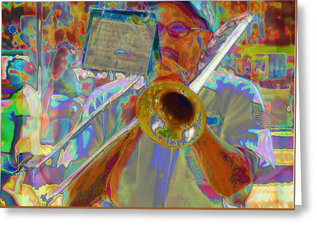 Marching Band Greeting Cards - Trombonist with Sheet Music Greeting Card by C H Apperson