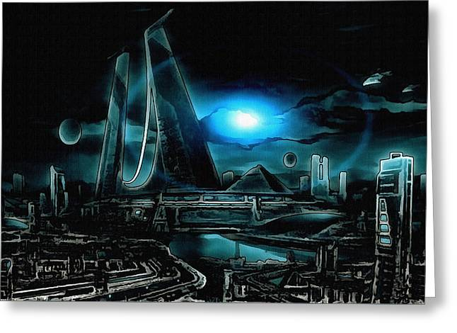 Tron Revisited Greeting Card by Mario Carini