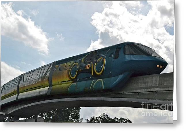 Tron Tram Greeting Card by Carol  Bradley
