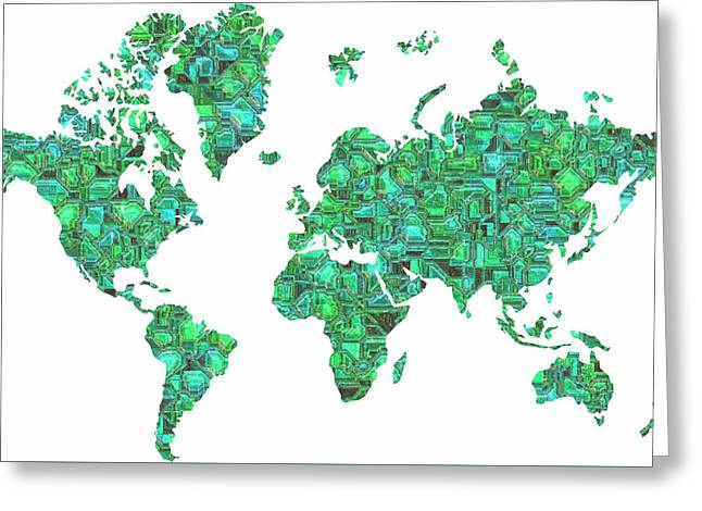Tron World Map Greeting Card by Luke Tyler