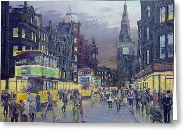 High Street Greeting Cards - Trongate Glasgow Greeting Card by William Ireland
