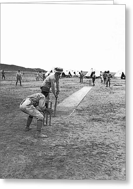 Troops Playing Cricket Greeting Card by Underwood Archives