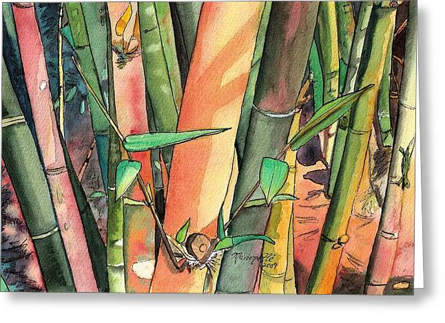 Marionette Greeting Cards - Tropical Bamboo Greeting Card by Marionette Taboniar