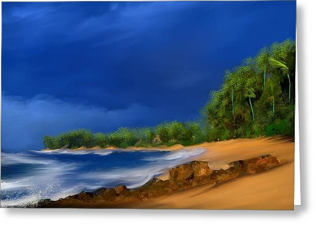 Tropical Beach Day Greeting Card by Anthony Fishburne