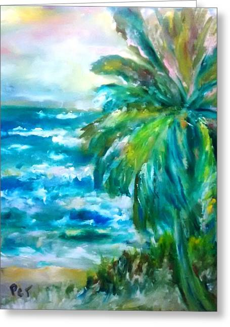 Tropical Beach With Palm Tree Greeting Card by Patricia Taylor