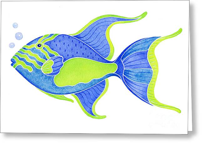 Triggerfish Paintings Greeting Cards - Tropical Blue Triggerfish Greeting Card by Laura Nikiel