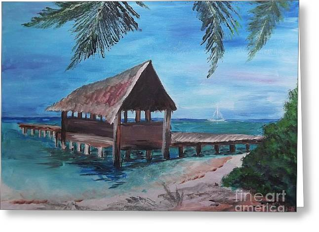 Judy Via-wolff Greeting Cards - Tropical Boathouse Greeting Card by Judy Via-Wolff