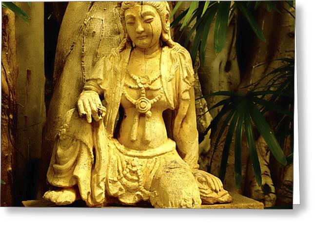Tropical Buddha Greeting Card by Cheryl Young