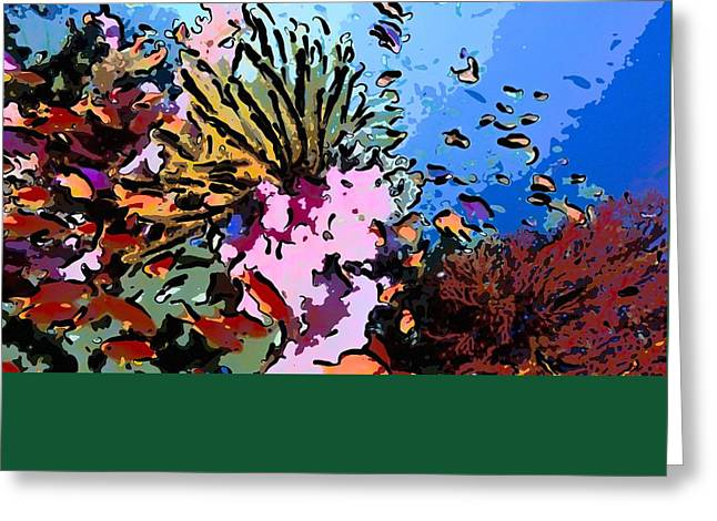 Seastar Paintings Greeting Cards - Tropical coral reef  2 Greeting Card by Lanjee Chee