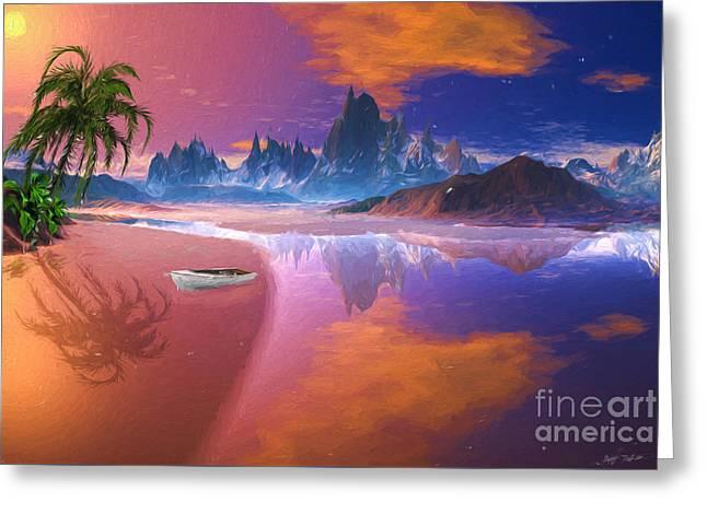 Tropical Island Mixed Media Greeting Cards - Tropical Dream Island Beach Greeting Card by Heinz G Mielke