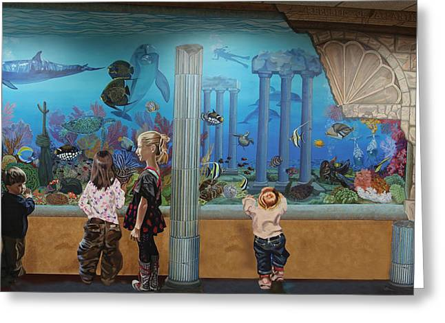 Architectural Treasure Greeting Cards - Tropical Fish Tank At Atlantis Aquarium Greeting Card by Bonnie Siracusa