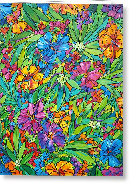 Tropical Floral Fabric Greeting Card by Judi Krew