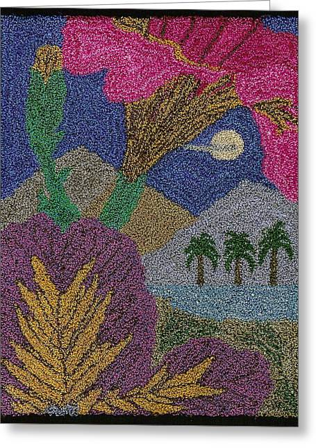 Island Tapestries - Textiles Greeting Cards - Tropical Flowers In The Moonlight Greeting Card by Jan Schlieper