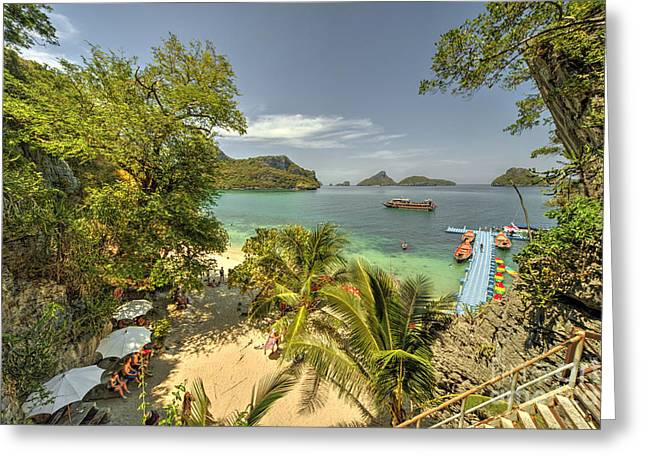 Angthong Greeting Cards - Tropical Harbour Greeting Card by Rob Hawkins