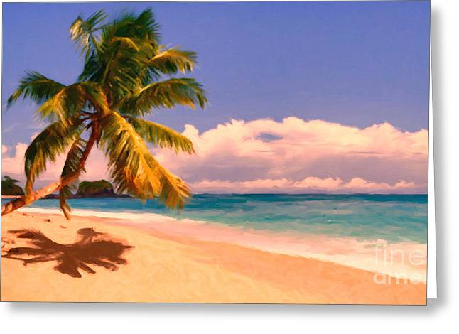 Tropical Island 6 - Painterly Greeting Card by Wingsdomain Art and Photography