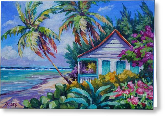 Tropical Island Cottage Greeting Card by John Clark