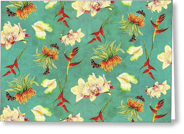 Tropical Island Floral Half Drop Pattern Greeting Card by Audrey Jeanne Roberts